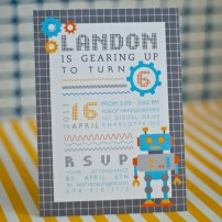 Robot Birthday Party Printable Invitation